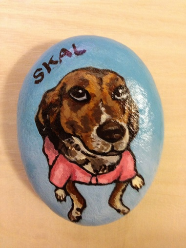Stone painting of Skal from Animals Taiwan!